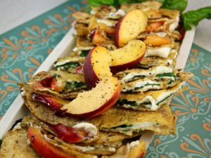 Peach Cheese Spinach Grilled Tortillas