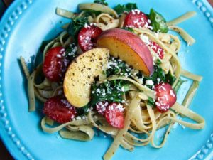 Spinach Pasta Peaches Strawberries