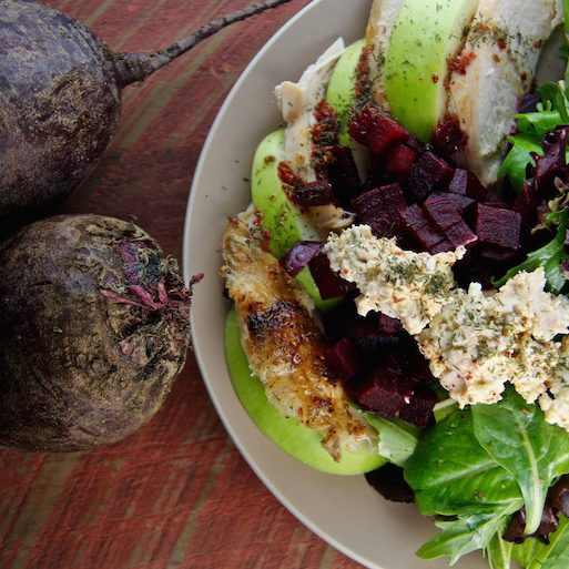 Apex Orchards CHICKEN AND BEET SALAD WITH APPLES, WALNUTS AND GOAT CHEESE